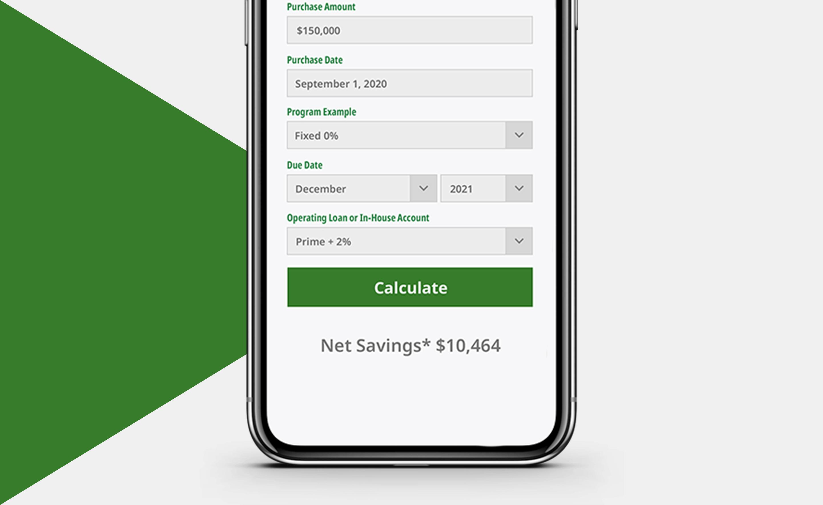 Crop input finance calculator.